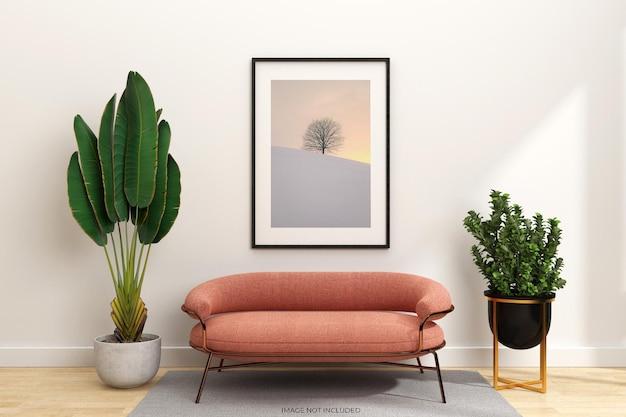 Projekt makiety ramek z sofą i roślinami w renderowaniu 3d