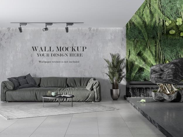 Projekt makiety ściennej obok żywej zielonej ściany