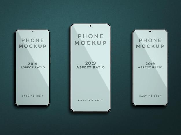 Projekt makiety smartfona na białym tle