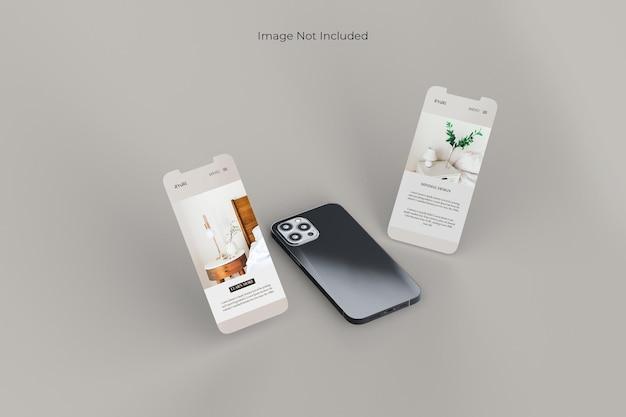 Projekt makiety smartfona na pełnym ekranie