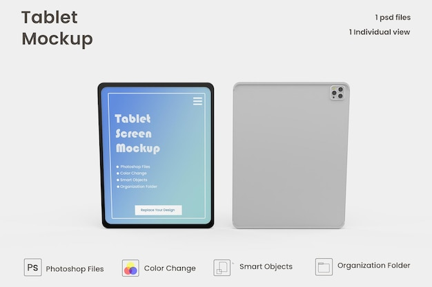 Projekt makiety tabletu na pełnym ekranie premium psd