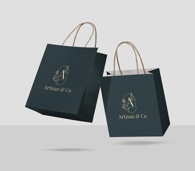 Projekt makiety torby na zakupy na białym tle