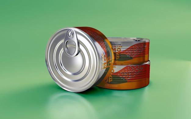 Projekt makiety trzech metalowych puszek do żywności