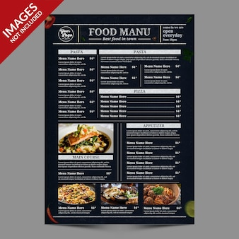 Projekt okładki menu vintage food premium szablon psd