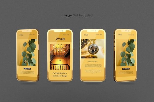 Projekt pełnoekranowy złoty smartfon makieta