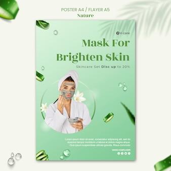 Projekt plakatu i szablonu ulotki z naturalnymi kosmetykami aloe vera