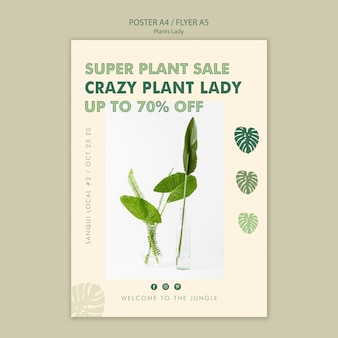Projekt plakatu koncepcja dama roślin