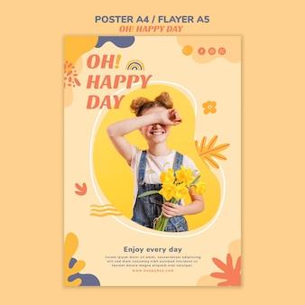 Projekt plakatu koncepcja szczęśliwy dzień