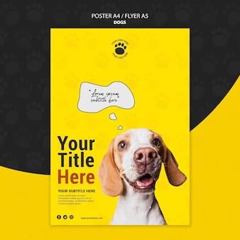 Projekt plakatu ładny pies