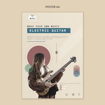 Projekt plakatu lekcje gitary elektrycznej