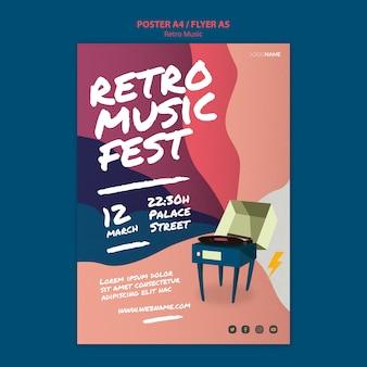 Projekt plakatu muzyki retro