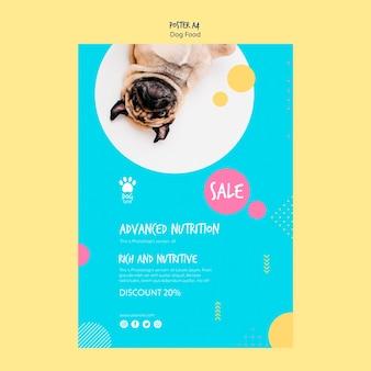 Projekt plakatu na sprzedaż karmy dla psów