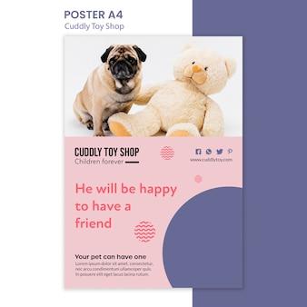 Projekt plakatu przytulnego sklepu z zabawkami