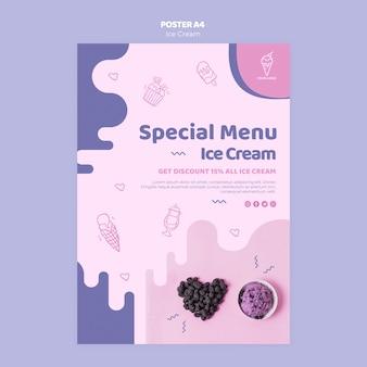 Projekt plakatu specjalne menu lodów