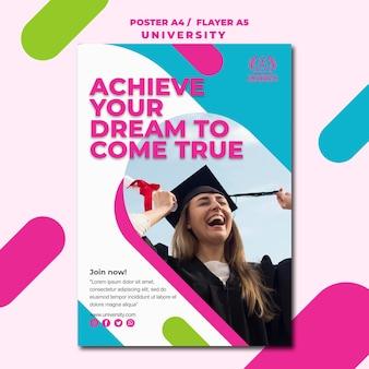 Projekt plakatu uniwersyteckiego koncepcji edukacji