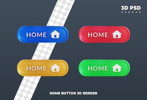 Projekt przycisku domu odznaka ikony renderowania 3d na białym tle
