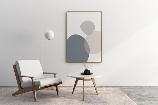 Projekt rama wnętrza salonu i makieta fotela w 3d