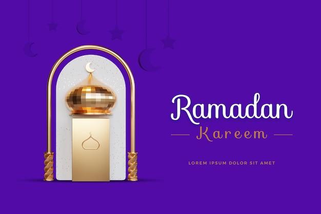 Projekt ramadan kareem z makietą renderowania 3d