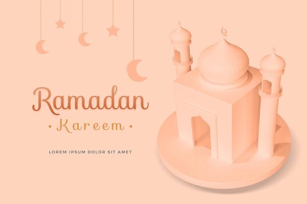 Projekt Ramadan Kareem Z Makietą Renderowania 3d Premium Psd