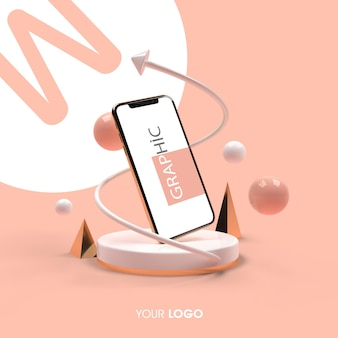 Projekt renderowania makiety telefonu 3d