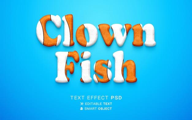 Projekt ryby klauna z efektem tekstowym