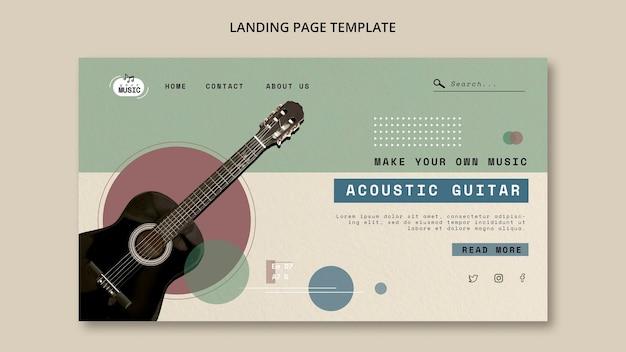 Projekt strony docelowej lekcji gitary akustycznej