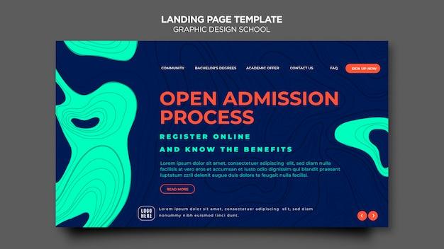 Projekt strony docelowej szablonu szkoły projektowania graficznego