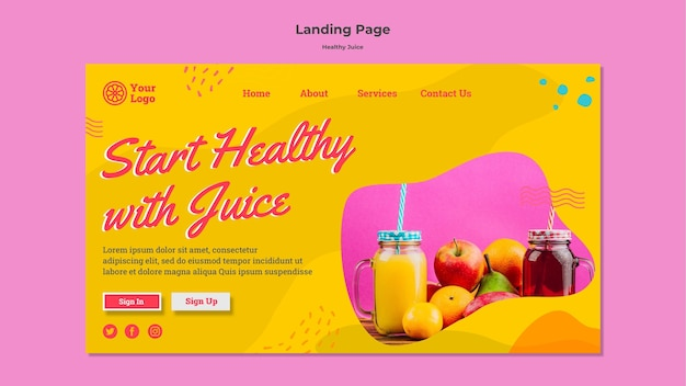 Projekt strony docelowej zdrowego soku