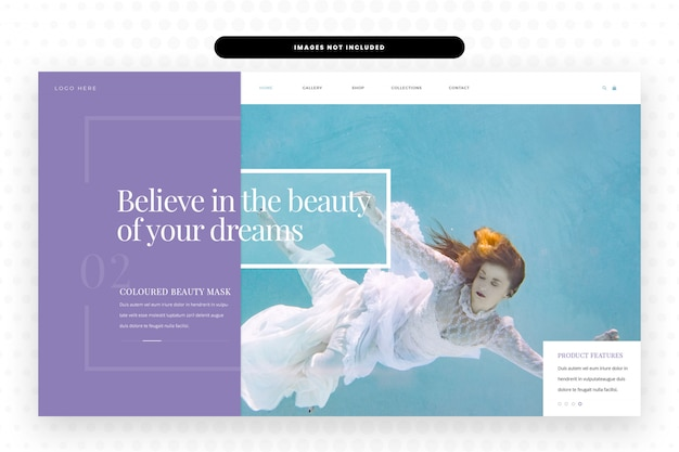Projekt strony internetowej passion dreams, hero banner, szablon sieci web