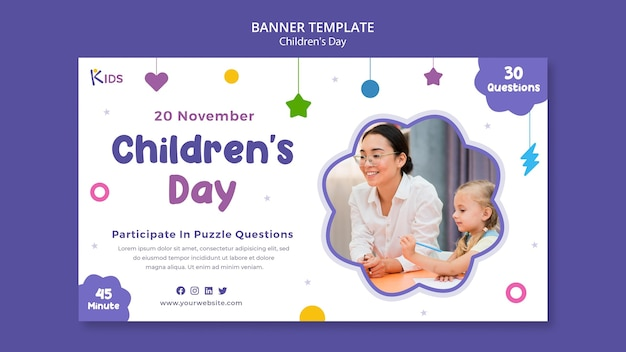 Projekt szablonu banera na dzień dziecka