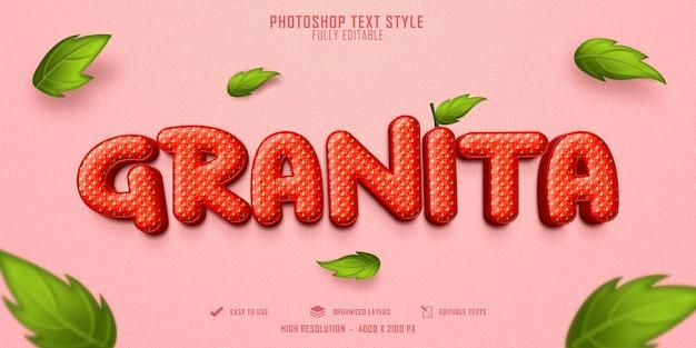 Projekt szablonu efektu stylu tekstu 3d granita