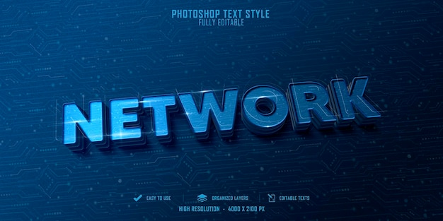 Projekt szablonu efektu stylu tekstu sieci 3d