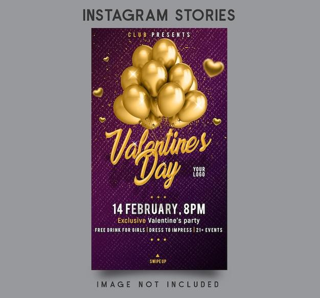 Projekt szablonu historii na instagramie w walentynki