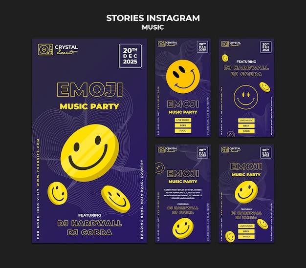 Projekt szablonu historii na instagramie z muzyką emoji