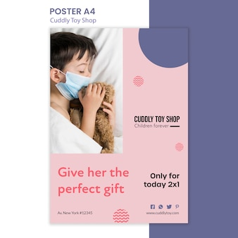 Projekt szablonu plakatu przytulnego sklepu z zabawkami