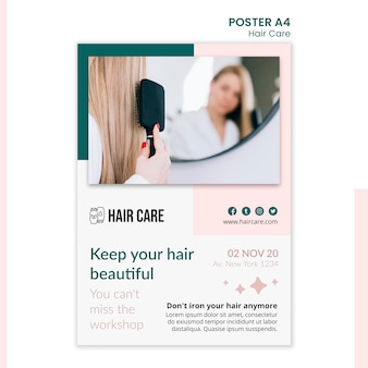 Projekt szablonu plakatu technik pielęgnacji włosów