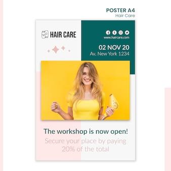 Projekt szablonu plakatu z poradami dotyczącymi pielęgnacji włosów