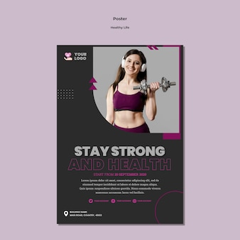 Projekt szablonu plakatu zdrowego stylu życia