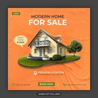 Projekt szablonu postu w mediach społecznościowych i kwadratowej ulotki dla branży nieruchomości