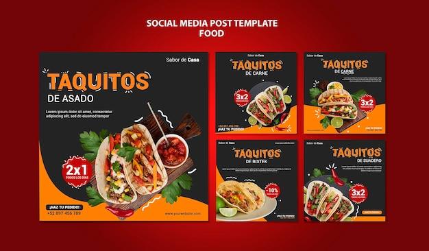 Projekt szablonu postu w mediach społecznościowych żywności