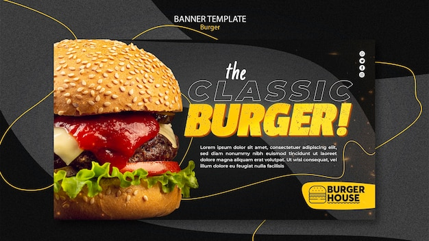Projekt szablonu transparent burger