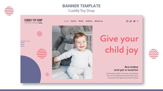 Projekt szablonu transparentu przytulanki sklepu z zabawkami