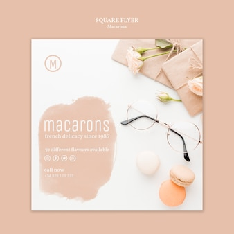 Projekt szablonu ulotki macarons