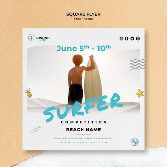 Projekt szablonu ulotki surfer