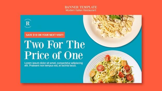 Projekt transparentu nowoczesnej włoskiej restauracji