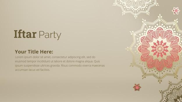 Projekt transparentu z zaproszeniem na przyjęcie iftar z ozdobnym wzorem mandali