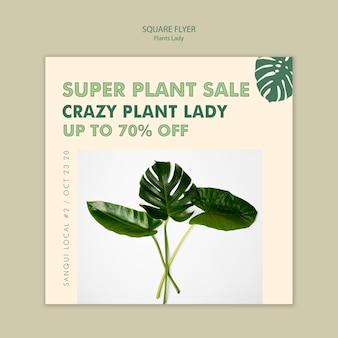 Projekt ulotki dama kwadrat roślin