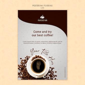 Projekt ulotki koncepcja kawy