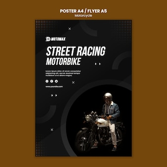 Projekt ulotki koncepcja motocykla