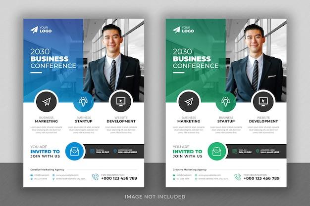Projekt ulotki konferencji biznesowej i szablon strony tytułowej broszury